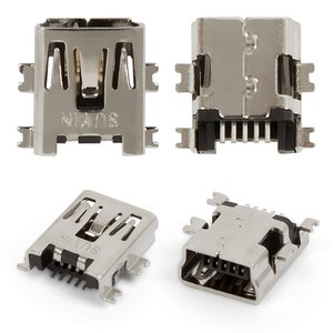 Charge Connector for Tablets; Cell Phones; Car Navigators; Digital Cameras; Video Cameras, (5 pin, mini-USB type-B, type 2)