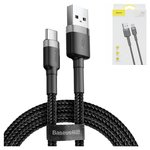 USB дата-кабель Baseus, USB тип-C, USB тип-A, 100 см, в нейлоновой оплетке, 3 A, черный, #CATKLF-BG1